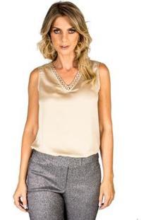 Blusa Detalhe Decote Lucidez - Feminino-Bege