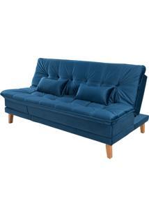 Sofá Cama Reclinável 2 Lugares Sala De Estar Quarto 192Cm Lady Veludo Azul Marinho - Gran Belo