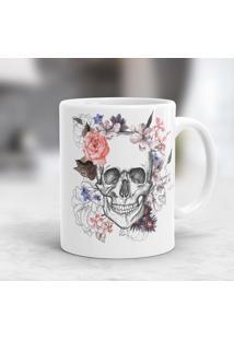 Caneca Porcelana Wevans Caveira Floral
