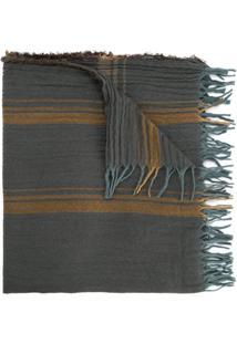 Uma Wang Echarpe Listrada Com Franjas - Cinza