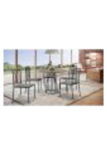 Conjunto De Mesa De Jantar Marrocos Com Tampo Siena E 5 Cadeiras Atos Linho Cinza E Preto