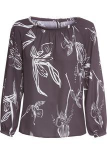 Blusa Feminina Orquídea Noite - Preto