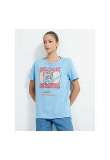 Blusa Alongada Em Algodão Com Estampa Escrita Block Number And Enjoy Your Summer | Blue Steel | Azul | Gg