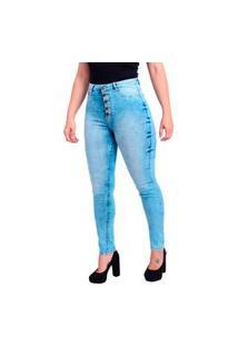 Calça Jeans Feminina 5 Botões Skinny Trama Cetim Com Elastano Cintura Alta Pins Borboleta Clara