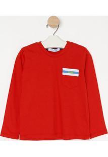 Camiseta Com Bolso & Recorte - Vermelha & Branca- Ololiver