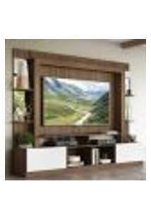 "Rack C/ Painel Tv 65"" Prateleiras C/ Espelho Oslo Multimóveis Madeirado/Branco"
