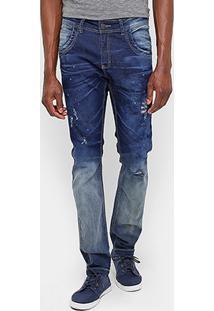 Calça Jeans Skinny Zune Estonada Respingos Masculina - Masculino
