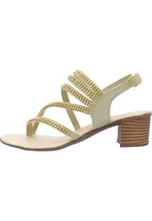 Sandália Romântica Calçados Tiras Strass Ouro Ligth