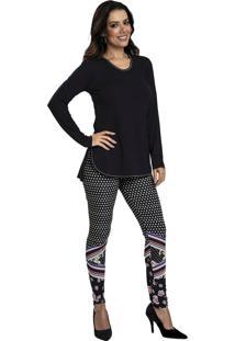 Pijama Recco Viscose Super Micro Preto - Kanui