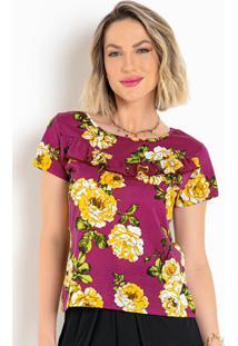 Blusa Floral Púrpura Com Babado E Mangas Curtas