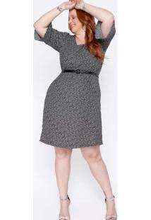 Vestido Almaria Plus Size New Umbi Com Cinto Preto