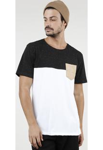 Camiseta Masculina Com Recorte E Bolso Manga Curta Gola Careca Branca