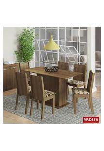 Conjunto Mesa De Jantar Madesa Celeny 6 Cadeiras Marrom