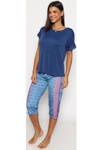 Pijama Capri Geomã©Trico Com Renda- Azul Marinho & Rosa