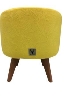 Puff Pã© Palito Redondo Alce Couch Velvet Next Amarelo 40Cm - Amarelo - Dafiti