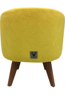 Puff Pé Palito Redondo Alce Couch Velvet Next Amarelo 40Cm
