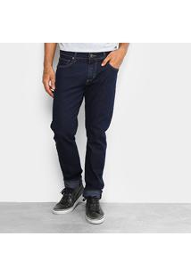Calça Jeans Slim Forum Paul Slim Escura Elastano Masculina - Masculino-Jeans
