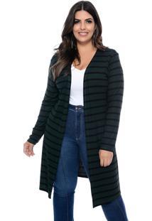 Maxi Cardigan Marie Plus Size Listras Verde