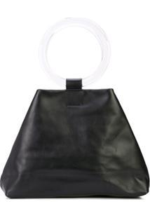 Modern Weaving Circle-Handle Slouch Bag - Preto