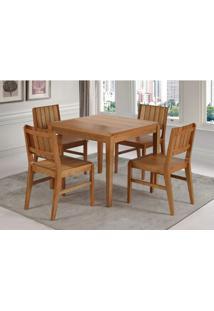 Conjunto Salvador 4 Cadeiras Eucalipto Cor Verniz Jatoba 90 Cm (Larg) - 45903 Sun House