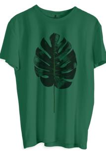 Camiseta Masculina Joss Estampa Folha De Riqueza Verde Musgo