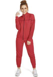 Conjunto Adulto Com Jaqueta E Calça Vermelho