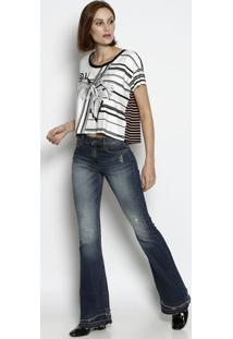 Camiseta Listrada & Folhagens - Branca & Pretaforum