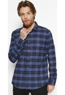 Camisa Slim Fit Xadrez - Azul & Azul Marinhocalvin Klein