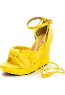 Sandália Anabela Salto Alto Feminina Conforto Amarelo