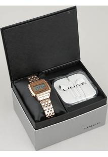 Kit De Relógio Digital Lince Feminino + Fone De Ouvido - Sdrh041L Kd82Bxrx Rosê - Único