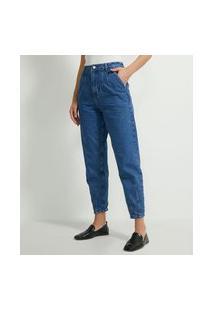 Calça Slouchy Em Jeans Com Pregas E Bolsos   Marfinno   Azul   46