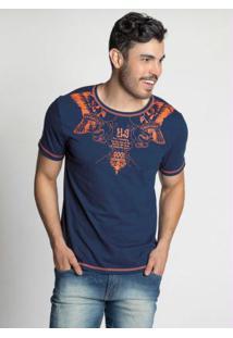 Camiseta Bicolor Marinho Com Estampa