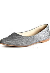 Sapatilha Promocional Scarpan Calçados Finos Prata Brilhosa