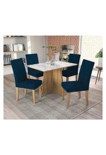 Sala De Jantar Kappesberg Lotus 4 Cadeiras Freijó E Azul Marinho