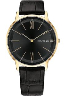 Relógio Tommy Hilfiger Masculino Couro Preto - 1791517