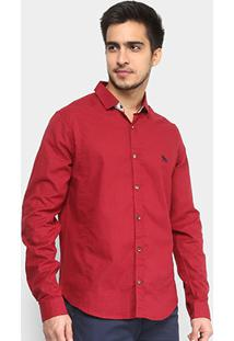 Camisa Acostamento Linho Manga Longa Masculina - Masculino-Vermelho