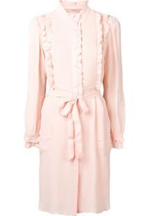 Twin-Set Ruffled Blouse Dress - Rosa