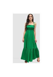 Vestido Hora De Diva Longo Alças Verde Esmeralda