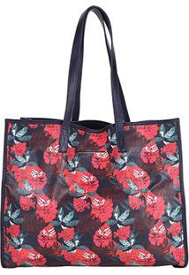 Bolsa Couro Colcci Shopper Floral Feminina - Feminino-Marinho+Vermelho