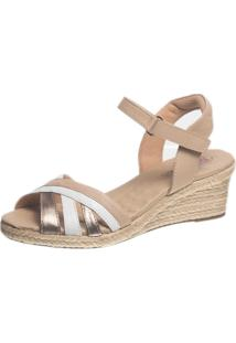Sandália Anabela Dotor Shoes 664 Branco/Bege