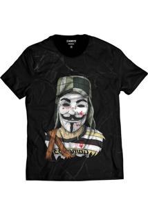 Camiseta Di Nuevo Estilo Chaves V De Vendetta Preta