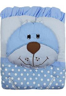 Capa De Carrinho Com Travesseiro Bruna Baby Poa G Azul