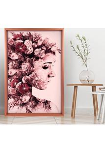 Quadro Love Decor Com Moldura Chanfrada Mulher Com Rosas Rose Metalizado - Grande