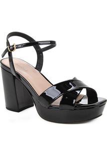 Sandália Shoestock Meia Pata Salto Alto Verniz Feminina - Feminino-Preto
