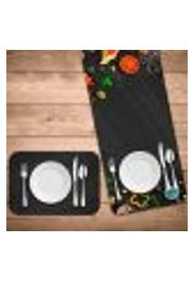 Jogo Americano Com Caminho De Mesa Pizza Kit Com 4 Pçs + 1 Trilho