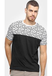 Camiseta Bulldog Fish Skull Beach Bicolor Masculina - Masculino-Preto