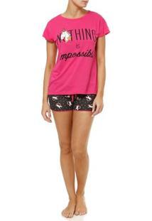 Pijama Curto Feminino Rosa