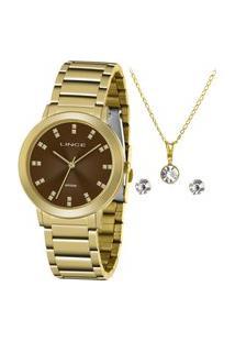 Kit De Relógio Analógico Lince Feminino + Brinco + Colar -Lrgh142L Ky30N1Kx Dourado