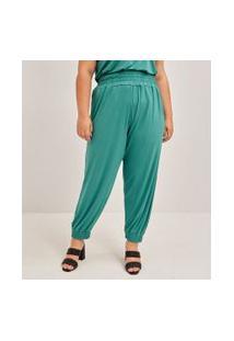 Calça Lisa Com Detalhe No Cós Curve & Plus Size   Ashua Curve E Plus Size   Verde   Gg