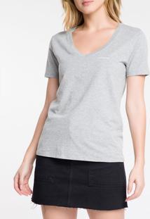 Blusa Feminina Slim Logo Esquerdo Gola V Cinza Calvin Klein Jeans - M